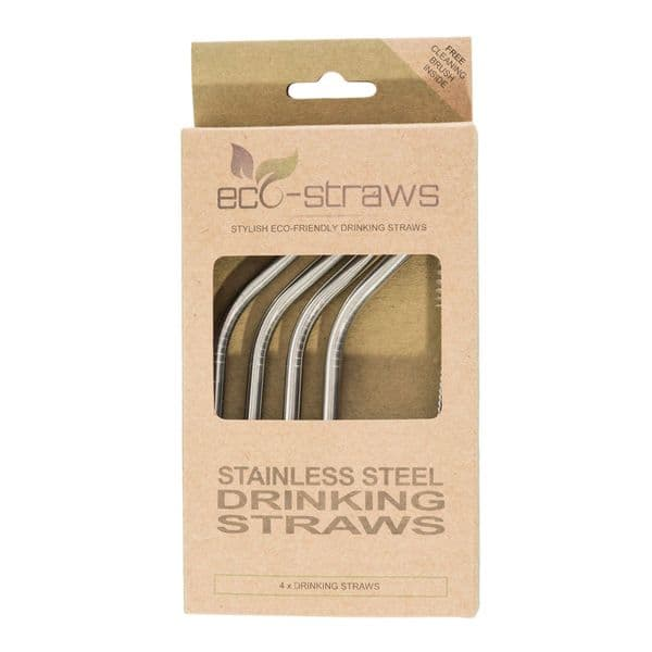 ANGLED Stainless Steel Drinking Straws (6mm x 145mm)